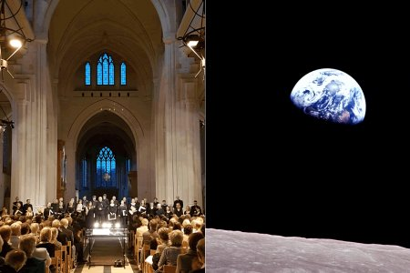 filled cathedral on half page, with a view of earth from a spaceship in the other half