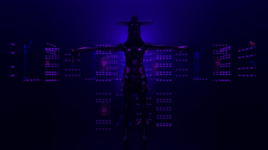 The image shows a dark room which appears to have grids of purple lights on the wall. In the centre of the image is a silhouette of a human figure with arms outstretched.