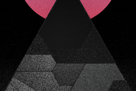 A digital image of a triangle in front of a red circle