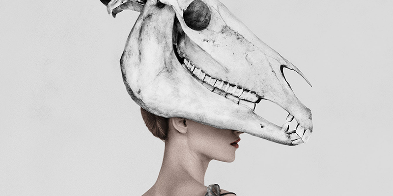 Model poses in evening dress with a cow skull on her head