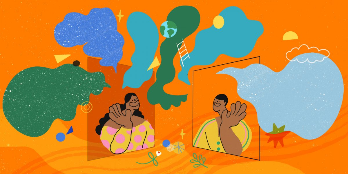 Illustration by Lily Kong, 2020. An illustrated scene in which two cheerful figures wave at each other from their respective screens. Around them is a brightly coloured collage of speech bubbles and abstract shapes.