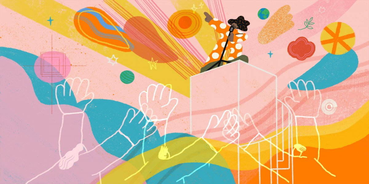 Illustration by Lily Kong, 2020. A brightly coloured, illustrated scene shows a person on top of a stage performing into a microphone to a crowd of onlookers.
