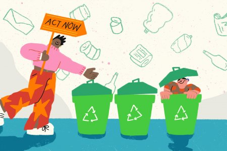 An illustrated scene shows a person holding a sign reading 'ACT NOW'. They are stood next to three recycling bins, the last of which contains a another person playfully popping their head out of the bin and smiling.