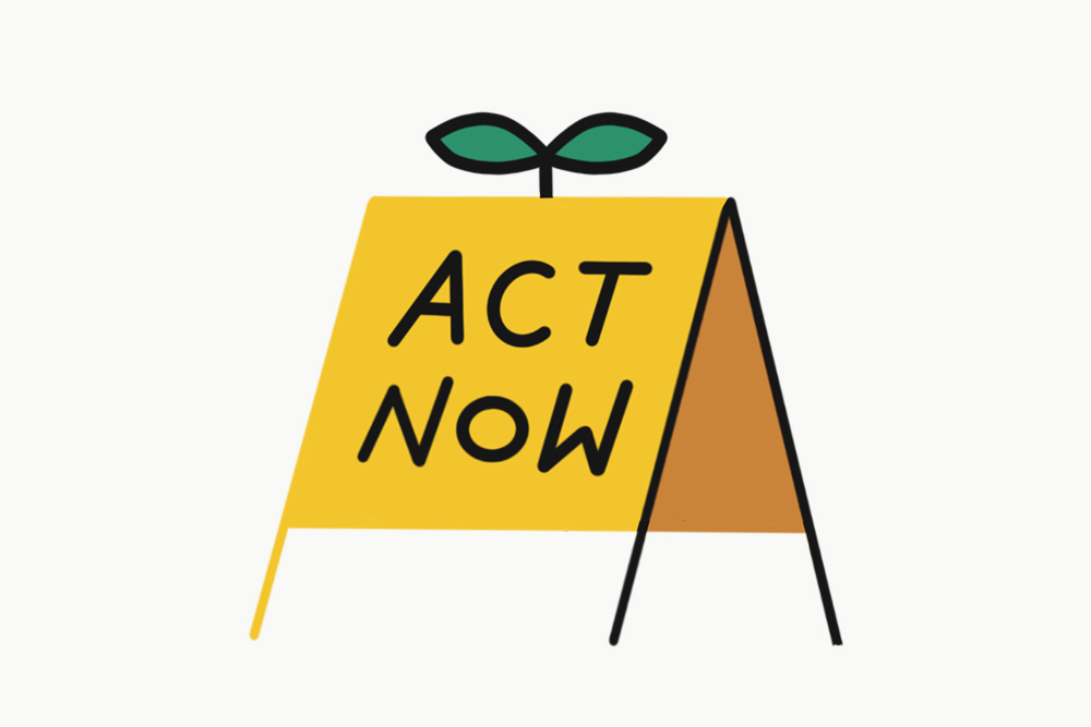 An illustrated, yellow sign with the words 'act now' written.