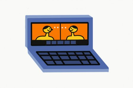 An illustrated laptop, on which we can see two figures having a video call,