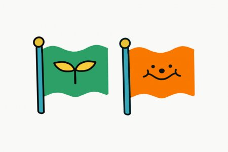 Two illustrated flags - the first is green and shows a small sprouting plant, the second is orange and shows a smiley face.