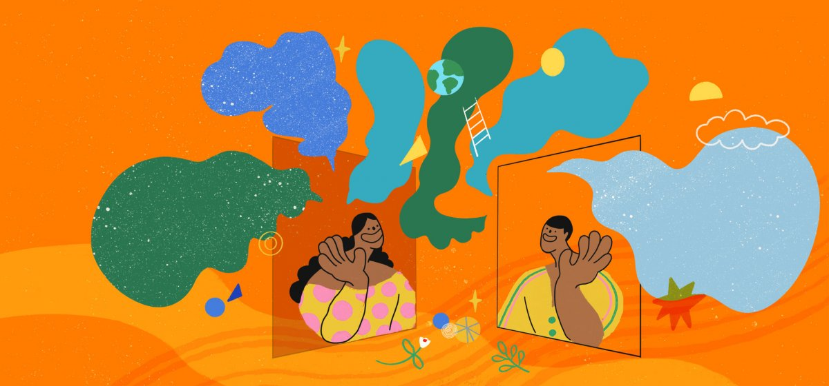 An illustrated scene in which two cheerful figures wave at each other from their respective screens. Around them is a brightly coloured collage of speech bubbles and abstract shapes.