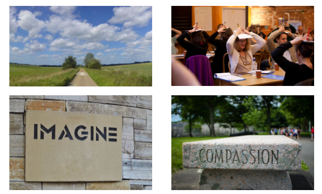 Four images as tiles. From top left: a road running through a field; people sitting at tables with hands on their heads; The word compassion written on a stone bench; The word Imagine on a wooden board