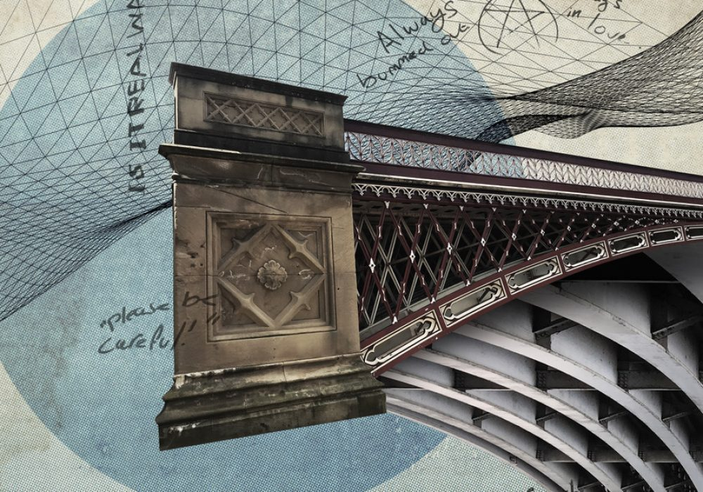 """Image of bridge with geometric/architectural plans illustration behind and floating graffiti saying """"please be careful. Colours blue, cream and stone."""