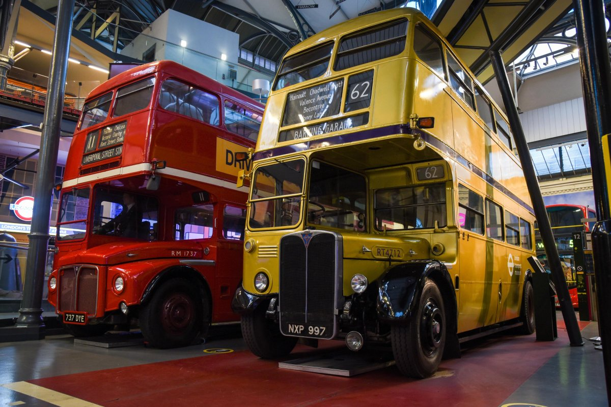 Red Routemaster and RT Type in gold livery on display at London Transport Museum